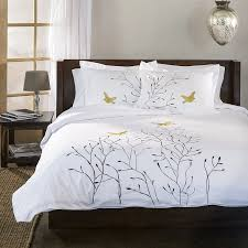 com superior 100 cotton percale embroidered 3 piece duvet cover set full queen gold swallow home kitchen