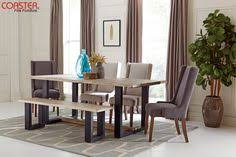 coaster levine contemporary table and chair set with bench coaster fine furniture