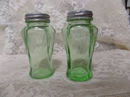 vintage green depression glass salt pepper shakers hazel
