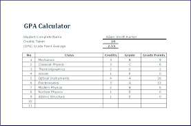 gpa calculator excel gpa calculator excel student grade and tracker with college credit planner template weighted