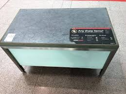 very sy security search table stainless steel frame and legs formica office furniture with wooden work