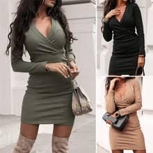 Elegant Fashion <b>Women</b> Long Sleeve Deep V Neck Jumper Dress ...
