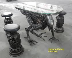 alien table scrap metal art life size furniture for sale