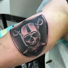 Oakland Raiders Skull Tattoo On Biceps