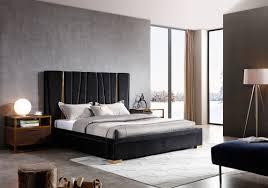 Modern black furniture Living Room Modrest Evonda Modern Black Velvet Brass Bed Modern Miami Buy Platform Beds Or Modern Beds In Modern Miami