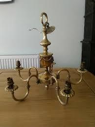 vintage heavy antique brass 5 arm chandelier ceiling light lamp georgian wired