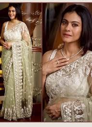 New Bollywood Designer Sarees Kajol Pista Color Bollywood Designer Saree