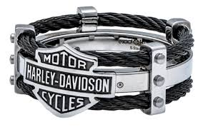 harley davidson men s ring bar shield logo double steel cable