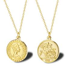 Gold Coin Pendant Designs Wholesale Carved Gold Coin Pendant Necklace For Women Girls Men Stainless Steel Simple Round Chain Goddess Worship Celebrity Medal Jewelry Butterfly