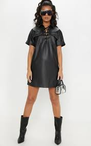 black lace up front faux leather shirt dress image 1