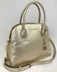 michael kors studio mercer large dome satchel handbag bag pale gold leather new