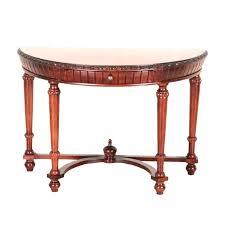 half moon entry table half moon console table with drawer half moon entry table brown wooden