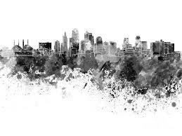 kansas city skyline painting kansas city skyline in black watercolor on white background by pablo
