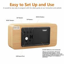 for wooden led alarm clock wood cube digital desk alarm clock with 3 brightness adjule 3 set of alarm dual power control