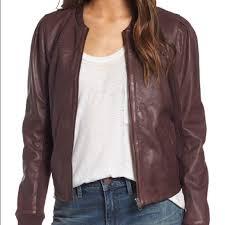 hinge shrunken brown leather jacket