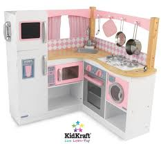 36 pink white wood pretend play kitchen set with accessories