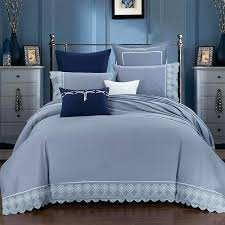 silver duvet cover king linen cotton embroidered luxury grey silver bedding sets queen king size bed
