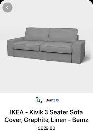 ikea kivik 3 seat sofa furniture