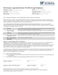 Employee Appraisal Form Performance Appraisal Form For Teams Exempt Employees