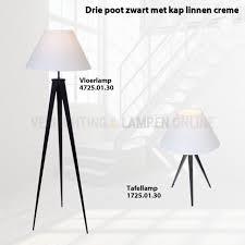 Staande Lamp 3 Poot Zwart Bankok Met Kap Linnen Wit Kopen