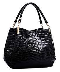 Yan Show <b>Women's</b> Patent Leather Shoulder <b>Bag Crocodile Pattern</b> ...
