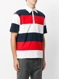 thom browne short sleeve polo with 4 bar stripe in blue and red rugby stripe