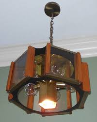 70 s fredrick ramond brass smoked glass oak chandelier light lamp mcm atomic
