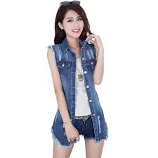 Wholesale-2015 Summer New Female Denim Vest <b>Korean Style</b> ...