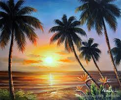2018 framed hawaii beach sunset palms bird of paradise flowers hand painted seascape art oil painting on canvas multi sizes j026 from coffee starbucks