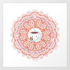 Cute Tea Lover Mandala With Tea Quotes Art Print