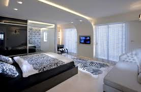 Contemporary Ceiling Design With LED Lights, Modern Bedroom Ideas In Black  And White