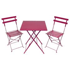 metal bistro set. 2-Seater-Bistro-Set-WithSquare-Table-Pink Metal Bistro Set S