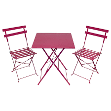 2 seater bistro set withsquare table pink