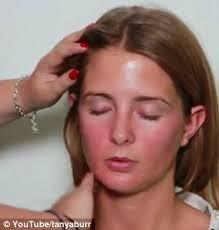 prep she begins by moisturising millie s skin before applying the foundation