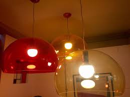 iconic kartell fly pendant lights for great secondhand condition red