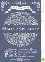 Winter Wedding Save The Date Winter Wedding Save Date Card Snowflakes Circle Stock Vector
