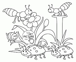 Spring Nature Coloring Page For Kids Seasons Coloring Pages