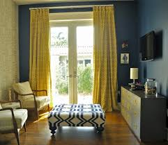 Yellow Living Room Design Attractive Mustard Curtains With Blue Dark Walls In Purple Living