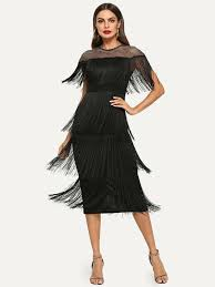 Fishnet Yoke Layered Fringe Dress