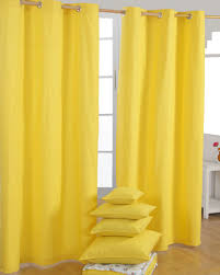 Cotton Plain Yellow Ready Made Eyelet Curtain Pair