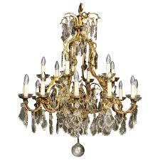 french gilded bronze eighteen light antique chandelier for