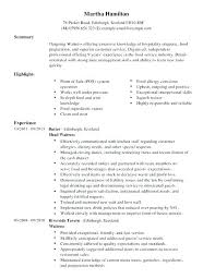 Restaurant Resume Custom Resume Sample For Restaurant Server Restaurant Server Resume