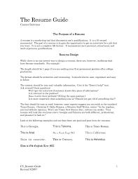 Curriculum Vitae Resume For Study