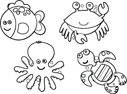 Simple Animal Coloring Pages Jungle Animals Page Sea For Adults Zoo