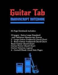 Guitar Tab Manuscript Notebook Extra Large Standard Tablature Staves W Basic Chord Charts Power Chord Charts Guitar Fretboard Chord Charts