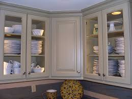charming corner soft gray wooden cabinet with glass doors plus silver steel handler on marvelous