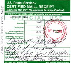 Certified Mail Receipt Of Petition Sent To The Supreme Court Of Nh