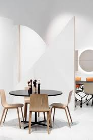 the inspiring shapes used by maio architects to design our stand at the stockholm furniture light fair aava chairs and ginger table by arper