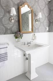 tiles bathroom floor. LOVE This Bathroom Makeover With Stenciled Walls That Look Like Wallpaper, Wood Medicine Cabinet, Tiles Floor