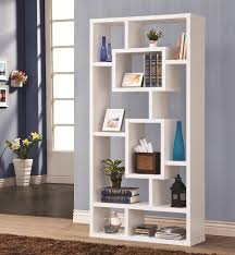 ... Charming Geometric Bookcase Modern Wall Bookshelf Tall White Geometric  Bookcase With Books Plant And ...